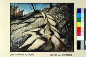 """Abb. 5: """"Das Kabinett des Dr. Caligari"""": """"Feldweg an der Stadtgrenze"""" von Hermann Warm; Bild mit Farbkarte IMG_0317 Inv.Nr. 198033_F251_034 Deutsche Kinemathek Berlin"""
