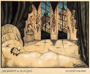 """Abb. 8: """"Das Kabinett des Dr. Caligari"""": """"Schlafzimmer von Jane"""" von Hermann Warm; IMG_0314 Inv.Nr. 198033_F251_31 Deutsche Kinemathek Berlin"""