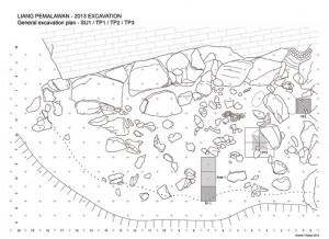 Cartographie du site de Liang Pemalawan avec implantation des zones fouillées Relevé MG et FXR./ Cartography of Liang Pemalawan and area excavated MG et FXR.