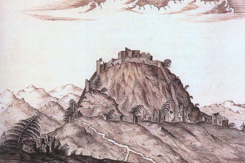 Remains of the city of Modruš on a drawing from the 17th century.