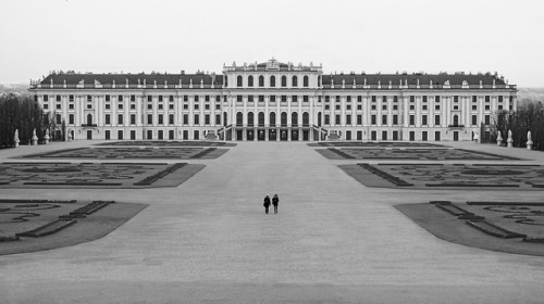 Dominik Bartsch, Lonely walk at Schönbrunn, Vienna  View from Neptune's fountain to Schönbrunn Castle, Vienna.
