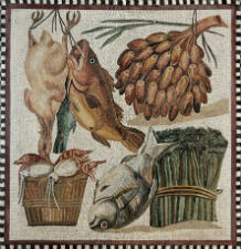 Still-life mosaic of fruit, vegetables, seafood and meat from a villa at Tor Marancia, 2nd century CE