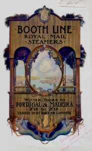 Figura 2 - Booth Line Tours to Portugal and Madeira. Liverpool: The Booth Steamship Company Limited, 1908. Brochura, il., 22x13 cm. Coleção particular Celestino Domingues.