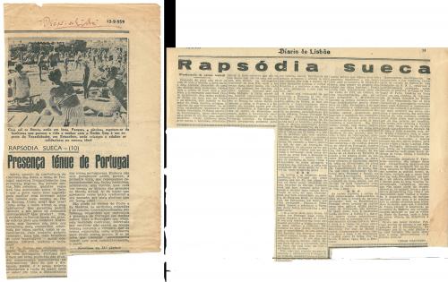"""Reprodução do artigo """"Presença ténue de Portugal"""", de César Faustino, Publicado no """"Diário de Lisboa de 13 de Setembro de 1059 e integrado na Série com o título genérico de """"Rapsódia sueca""""."""