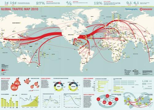 Tráfico de internet global em 2010 - Imagem de infolet.it