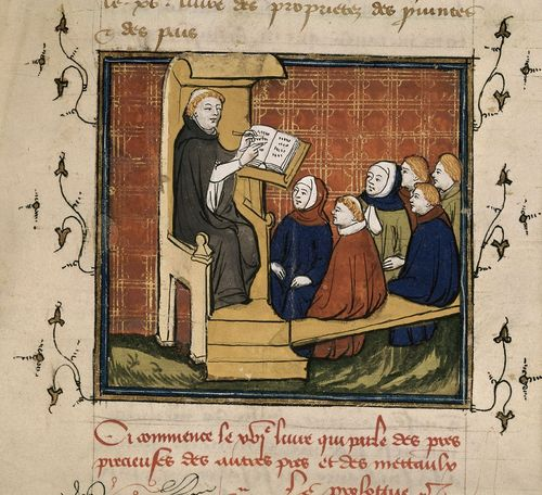 Detail of a miniature of a scribe demonstrating to his pupils, from Jean Corbechon's translation of Bartholomaeus Angelicus' De proprietatibus rerum, France (Paris?), 1st quarter of the 15th century, Royal MS 17 E III, f. 209r - http://britishlibrary.typepad.co.uk/digitisedmanuscripts/2014/06/the-burden-of-writing-scribes-in-medieval-manuscripts.html#sthash.Bn9DoJgp.dpuf