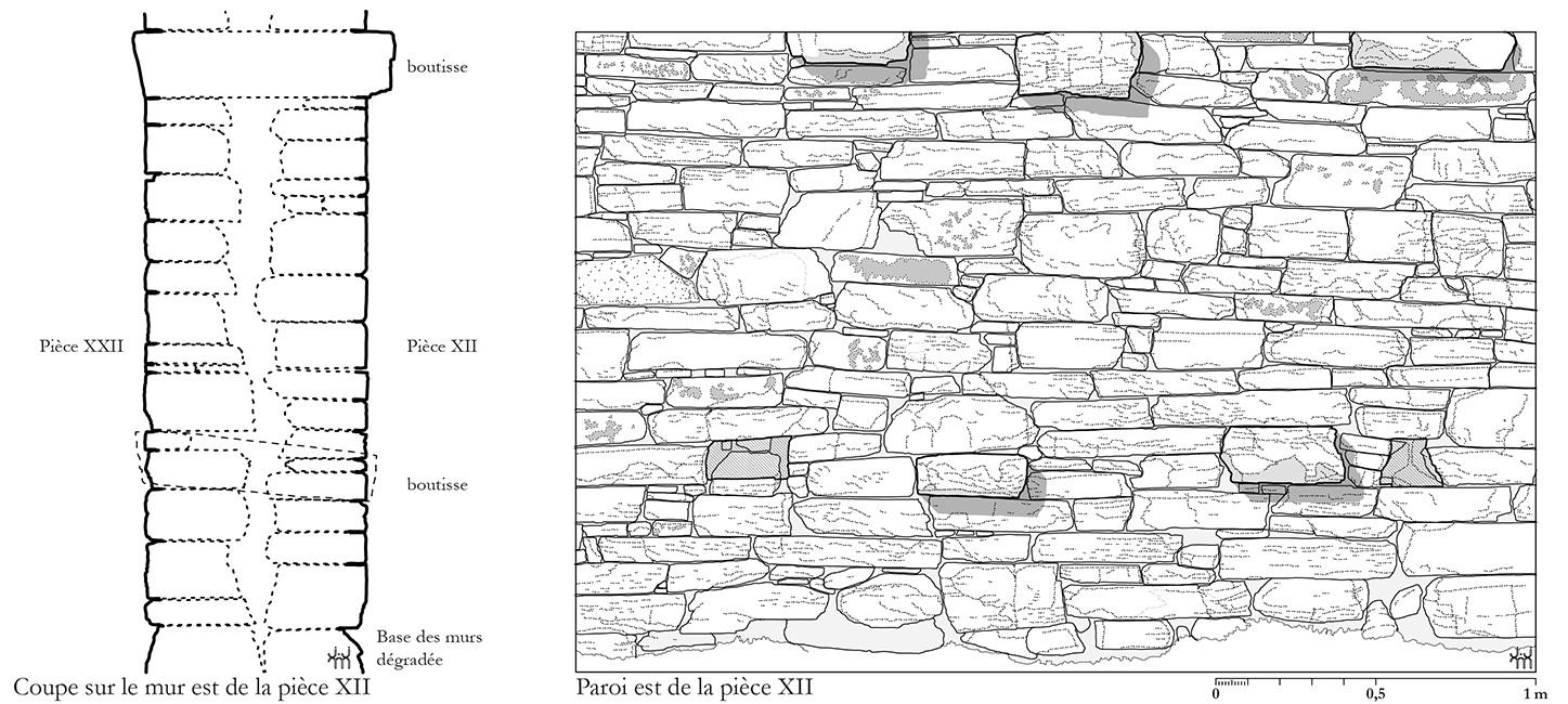 Fig. 3. Principes de construction des murs, Magasin des Colonnes, mur est de la pièce XII (dessin: JJM).