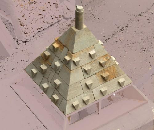 (c) G. Charpentier - La maquette de restitution du toit pyramidal