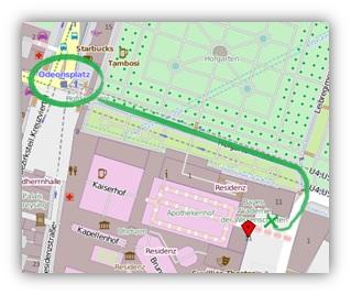 Wegskizze: Vom Odeonsplatz zum Eingang der Bayerischen Akademie der Wissenschaften