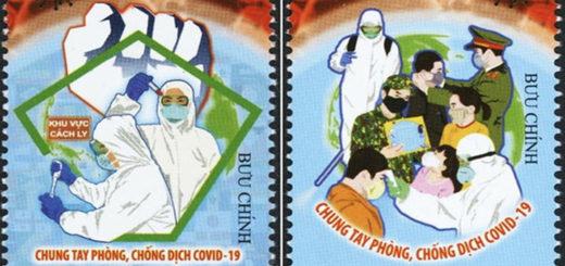 Bộ tem ''Chung tay phòng chống Dịch COVID-19'' - Ảnh: Bộ TTTT