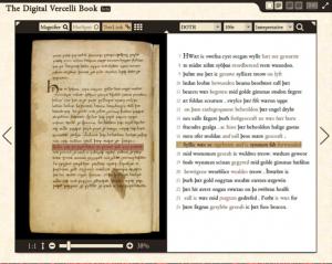 Collegamento testo-immagine nella trascrizione del Vercelli Book