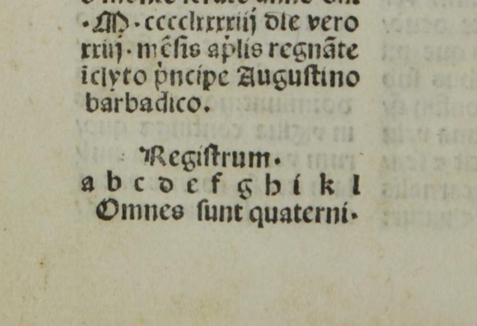 Esempio di registro (Thomas, aÌ Kempis, 'Imitatio Christi', Venezia, Quarengi et Occimiano, 1496)