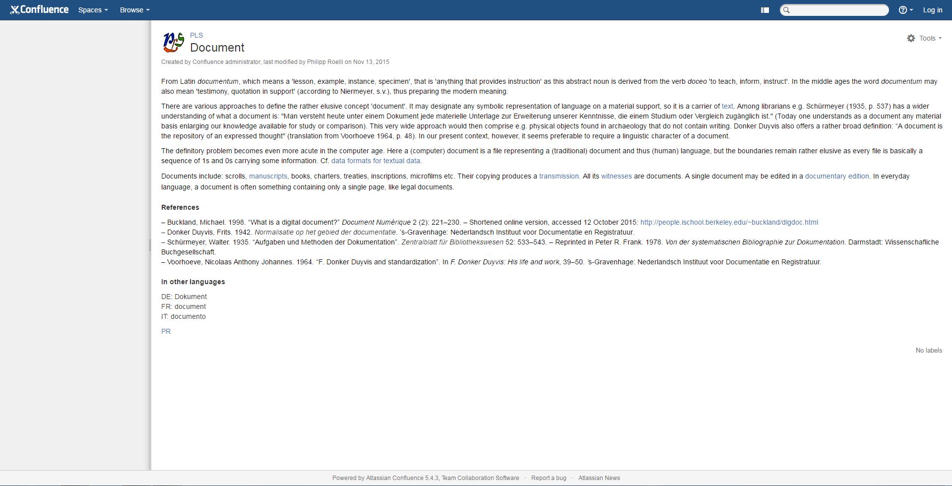 The Parvum Lexicon Stemmatologicum's definition of 'document'.
