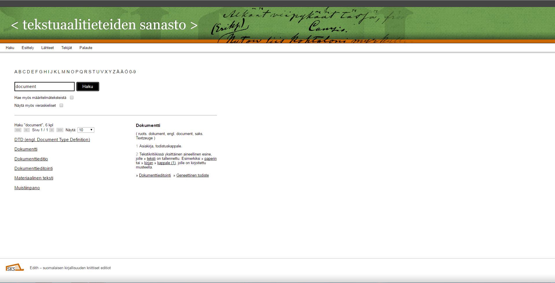The Tekstuaalieteiden Sanasto's definition of 'document'.