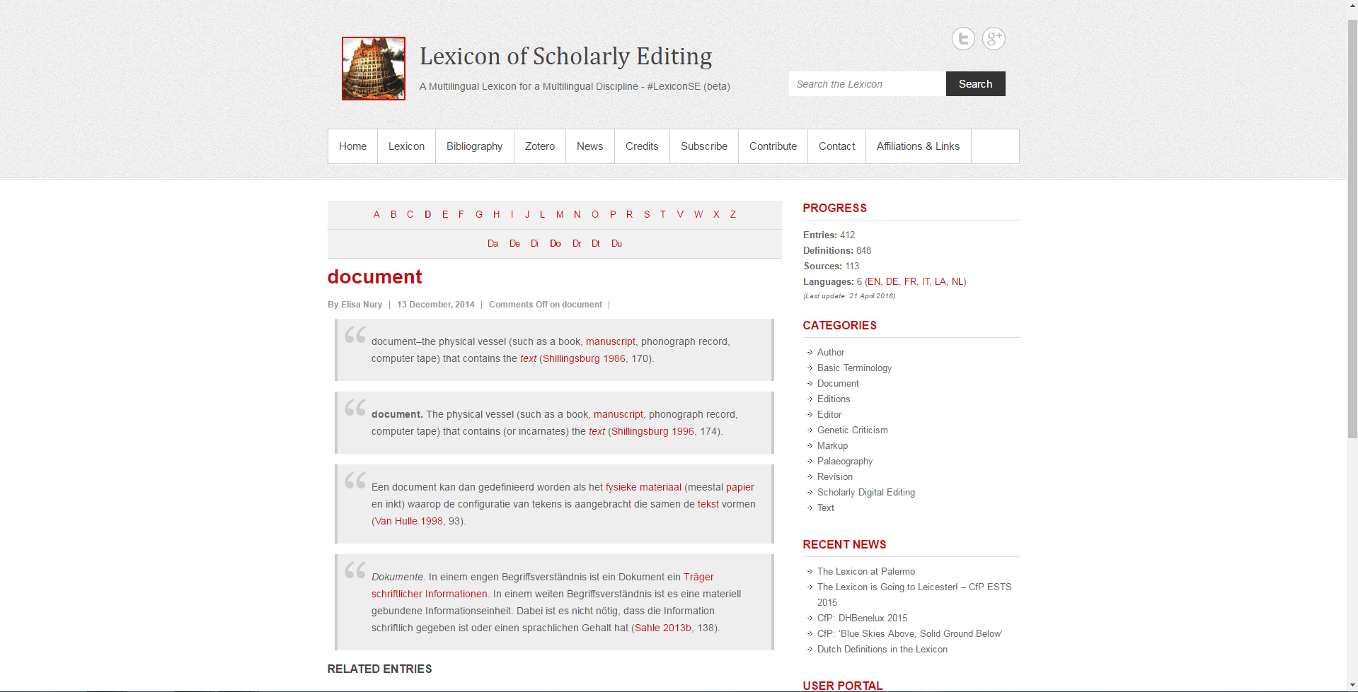 The Lexicon of Scholarly Editing's definition(s) of 'document´.