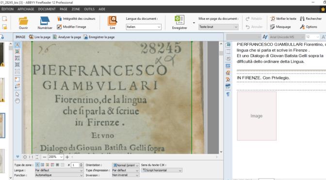 Guest Blogger Jean-Louis Bellini. OCR et édition ePub d'un livre du XVI° siècle