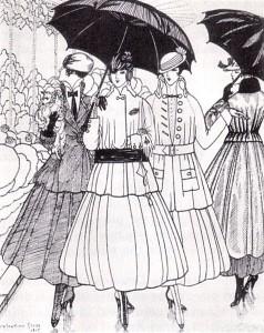 Gazette du Bon Ton fashion plate 1915 rain (photo: Valentine Gross under public domain)