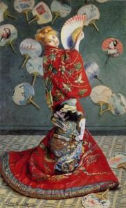 Claude Monet:  La Japonaise, Madame Monet en costume japonais (1876) (public domain)