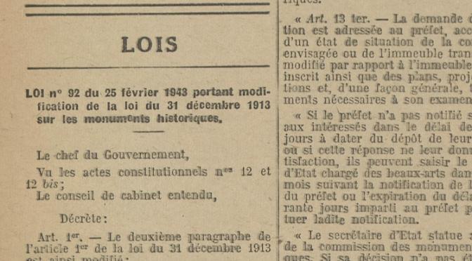 Où sont les archives de la loi de 1943 sur les abords des monuments historiques ?