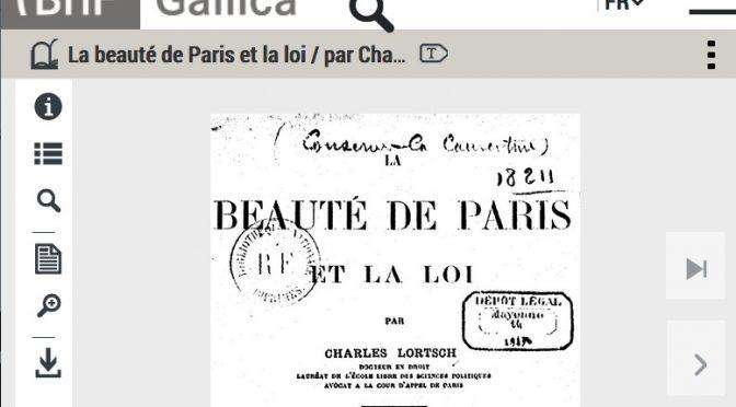 «La beauté de Paris et la loi» (1912) : relire Charles Lortsch