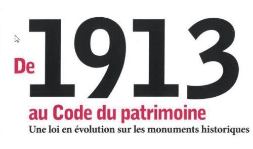 table ronde autour de l'ouvrage « De 1913 au Code du patrimoine » (Paris, 23 janvier 2019)