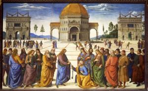 La remise des clés à saint Pierre (Le Pérugin, image libre de droits)