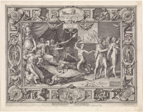 Federico Zuccaro, Calomnie d'Apelle, gravée par Cornelius Cort et Antoine Lafréry, 1572, permission Rijksmuseum, Amsterdam