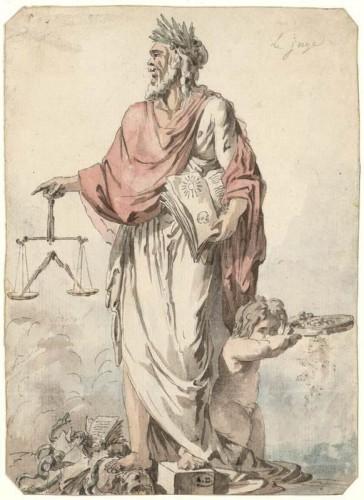 Le Juge, dessin allégorique de Jean-Charles Delafosse (1734-1791), Musée des Arts Décoratifs, Paris