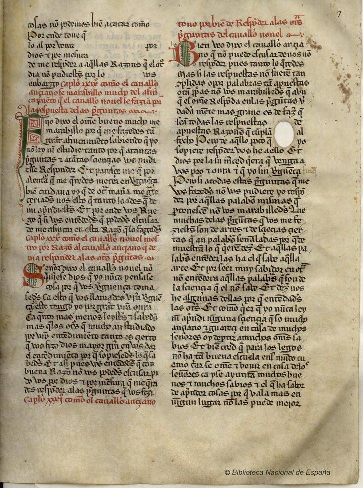 Juan Manuel, Obras.Madrid, BNE, ms. 6376 (olim S-34), fol. 7r