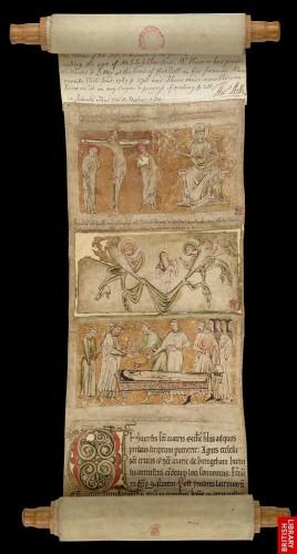Rollo necrológico de Lucy, fundadora y primera priora de Hedingham (1230)Londres, British Library, Egerton MS 2849