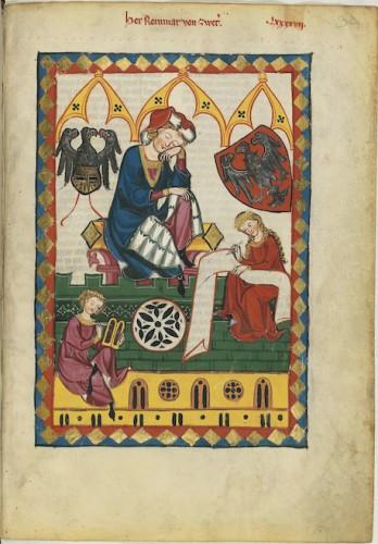 Escribas medievales usando tablillas de cera y rollo.Codex Manesse, UB Heidelberg, Cod. Pal. germ. 848, fol. 323r