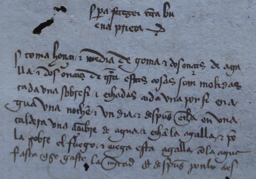 Receta para hacer tinta negra. Casa de Alba (ms. 94, fol. 91r). Siglo XV