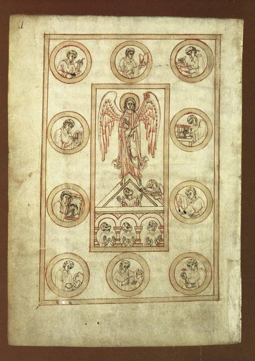 Staatbibliothek Bamberg, ms. Patr. 5, fol. 1v Ambrosio, Opera varia, s. XII