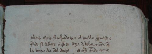 Casa de Alba, ms. 94, fol. 45r (detalle)La letra d del cuarto cuadernillo. A la derecha, bajo el 45 a lapicero, hay un 1 (Foto JMFR)