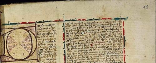 BNE, ms. 12793, fol. 16r. Lo que parece una comita encima del 16 es el número romano I que indica el folio 1 del códice