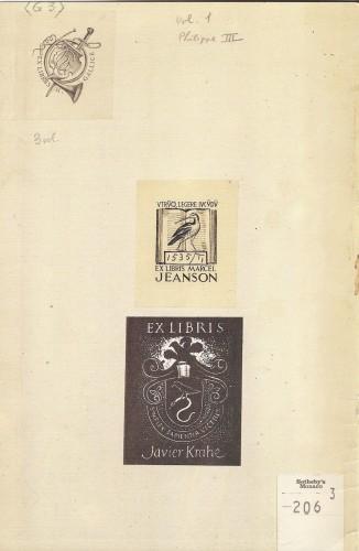Exlibris de H. Gallice, M. Jeanson y Javier Krahe en una pragmática de 1611