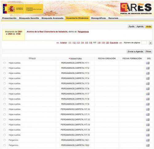 Pantallazo de la web de PARES (30.1.15)