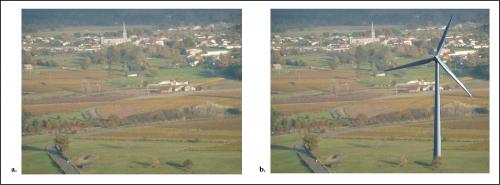 Figure 2 : Photomontage illustrant l'impact sur le paysage, utilisation à l'occasion d'un bulletin d'information par Vigiéole Source : Vigiéole, bulletin no1, décembre 2008