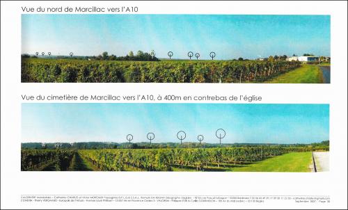 Figure 5 : Photomontages du projet éolien de Reignac Source : Calorivert, bureau d'études paysagistes, 2007