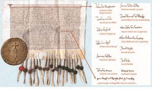 Namentliche Nennung von Bürgermeister und Rat der Stadt Linz und Ersterwähnung der Linzer Burg, 1365 (Original: LAV NRW Abt. Rheinland Kk Urk. 211)