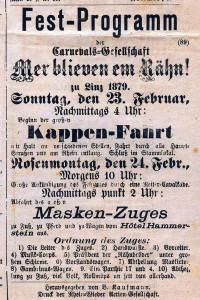Programm des ersten Rosenmontagszugs, 1879