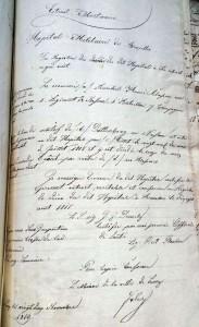 Todesbescheinigung des Lazaretts in Brüssel betr. Heinrich Runkel, 1819 Stadtarchiv Linz