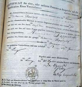 Bescheinigung, dass der Anspruch auf die Waterloo-Gratifikation für den Gefallenen Heinrich Doppelgatz auf dessen Mutter übergeht Stadtarchiv Linz