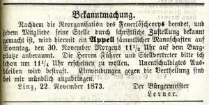 """Aufruf zum Appell der Löschmannschaften auf dem Burgplatz in der """"Linzer Zeitung"""" vom 22. November 1873"""