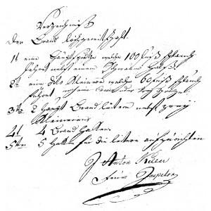 Verzeichnis der Brandlöschgerätschaften, 1804