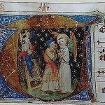 """Linzer Missale"": Bildinitiale Jakob ringt mit dem Engel"