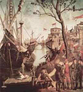 Vittore Carpaccio: The Legend of Saint Ursula, Arrival of the Pilgrims in Cologne, Oil on Canvas, 1490, Galleria dell'Academia, Venice