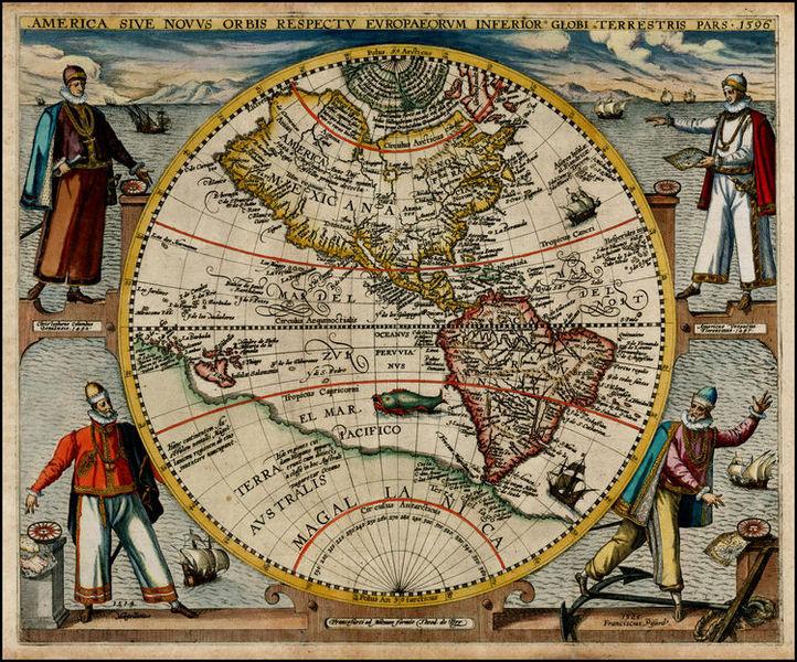 World Map In Renaissance. America or the New World map by Theodor de Bry 1596 Renaissance Society of  Berlin 2015 Bilderfahrzeuge