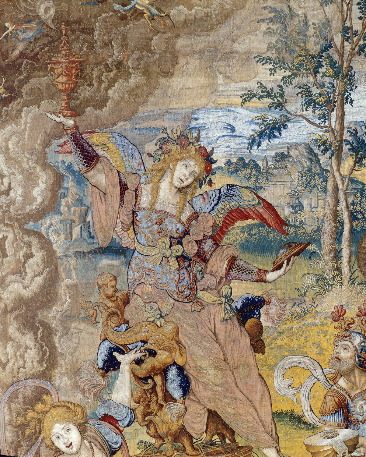 The Triumph of Lust (detail), from a seven-piece set of the Seven Deadly Sins, designed by Pieter Coocke van Aelst, ca. 1532-33, woven in Brussels, ca. 1542-44,  wool, silk, gilt-metal-wrapped thread, Patrimonio Nacional, Palacio Real de Madrid, 8 warps per cm