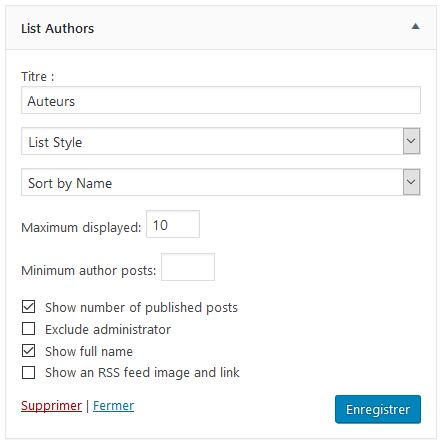 Paramêtres à personnaliser du widget List Authors